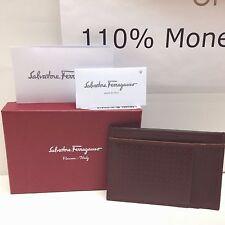 NEW Salvatore Ferragamo Brown Stamp Logo Leather ID Credit Card Cash Case Wallet