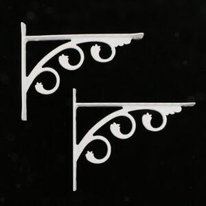 2Pcs-European-Style-Wall-Mounted-Shelf-Bracket-Hanging-Holder-White-12x15cm