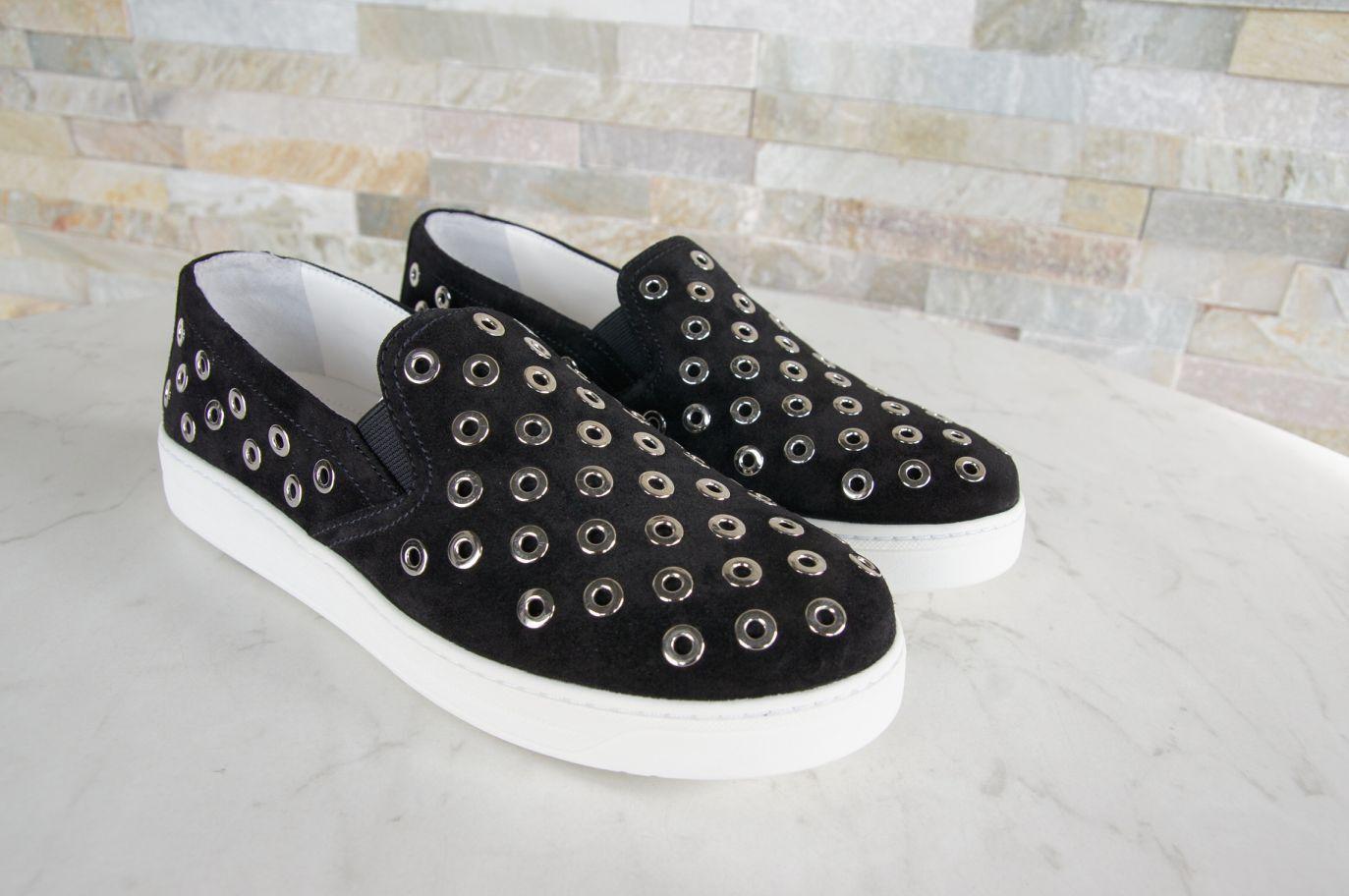 PRADA Gr 39 Slipper Sneakers 3S6159 Slip On Schuhe Suede 3S6159 Sneakers schwarz NEU 6e984e