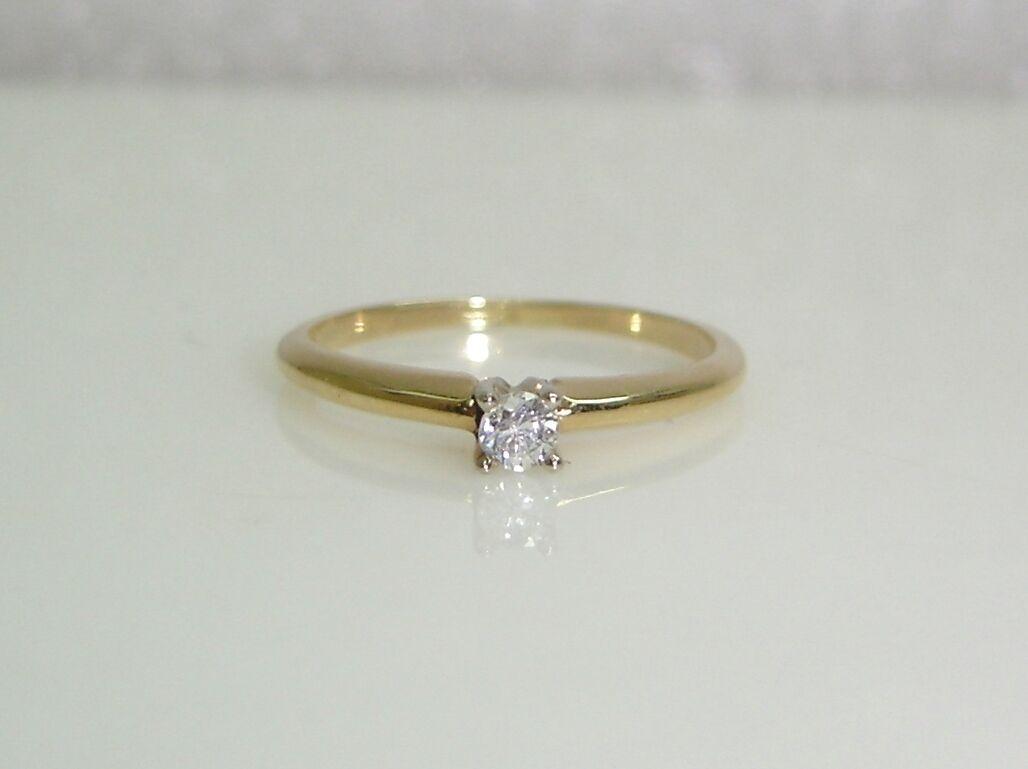 Diamante Solitario Anello di Fidanzamento Set Set Set in 14k oro Giallo Misura 5.75 70feb6