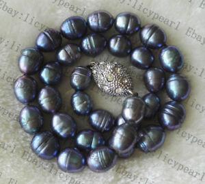 10-11mm-Weis-grau-schwarz-Barock-Reis-Suswasser-Perlenkette-Magnetverschluss