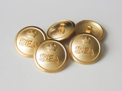 """3086go 5 dorée métal œillets boutons avec l/'inscription /""""sea/"""" /& couronne"""