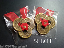 2 x Lot Feng Shui Lucky Chinese I-Ching 23mm Coins Set of 3, Red Ribbon I Ching