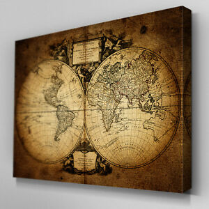 C359 vintage world map canvas wall art ready to hang picture print image is loading c359 vintage world map canvas wall art ready gumiabroncs Choice Image