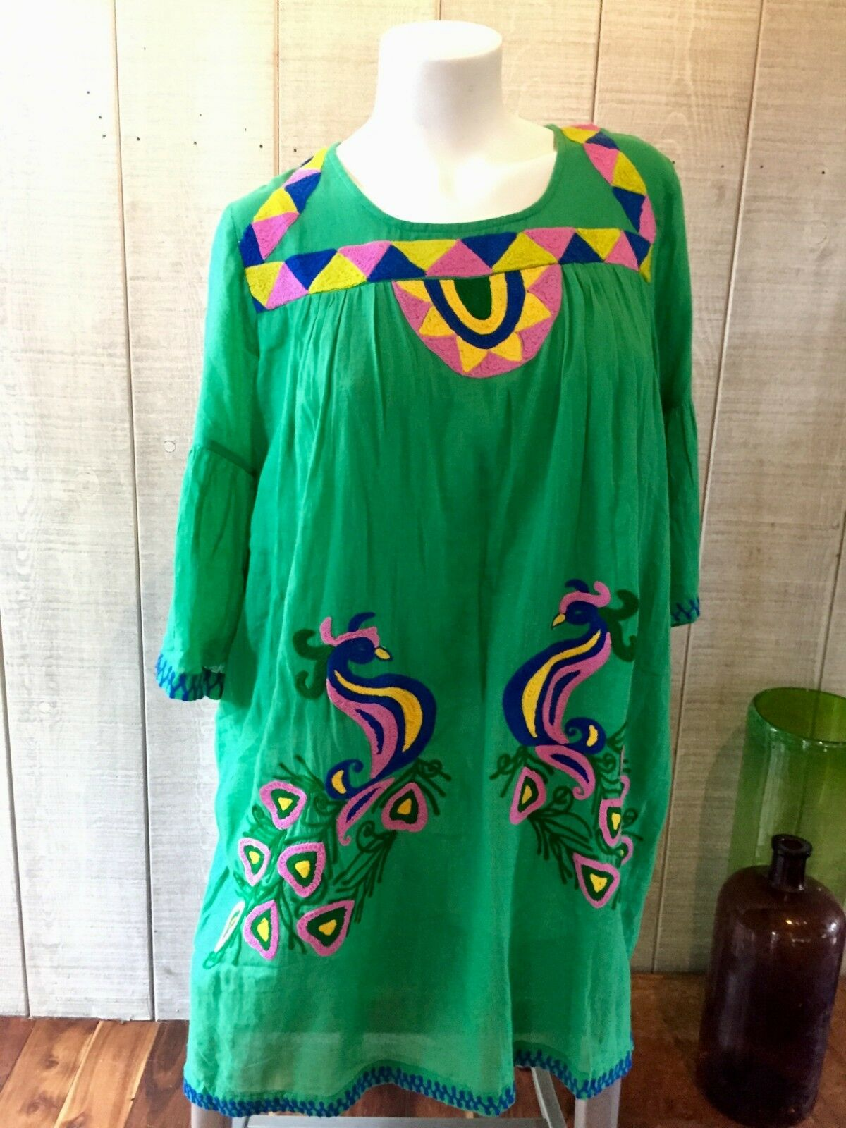 Pure Nordic Embroidered Dress Baby Doll Tunic Boho Med Festival EUC
