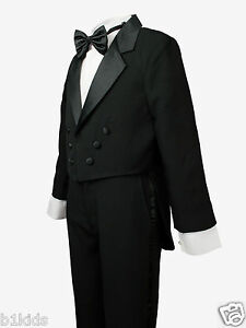 Boys Black White Tuxedo Formal Party Wedding Toddler Kids Size 2T-4T Boys 5-20 S