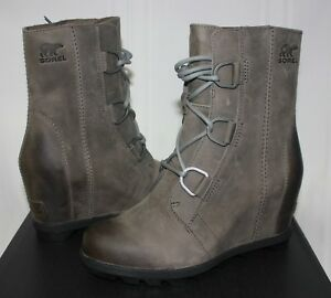 e8883b5f716 Sorel Women s Joan Of Arctic Wedge Boots Quarry Grey Leather New ...