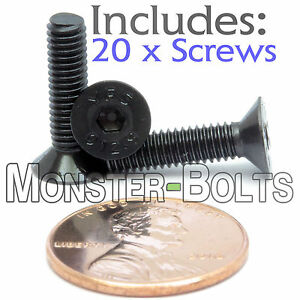 4mm x 0.70 x 16mm - Qty 20 - Flat Head Socket Screws Countersunk Alloy Steel M4