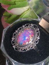 Beautiful Filigree Vintage Sterling Silver Foil Art Glass Opal Ring ~ 925 MX