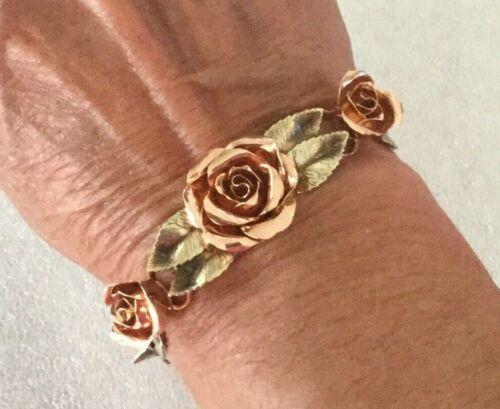 White Rose set in Gold Washed Napier Sterling Adjustable Ring Vintage 1940s