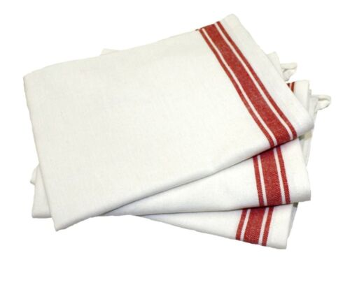 Aunt Martha/'s Vintage Style Red Stripes  Kitchen Dish Tea Towels Set of 3 NEW