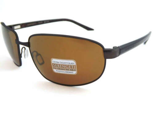 SERENGETI Polarized Photochromic TRAPANI Sunglasses Brown Drivers Gold 7600