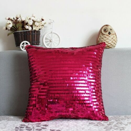 1PC Hot Pink Bling Shiny Glittering Scaly Sequin Pillow Case Sofa Cushion Cover
