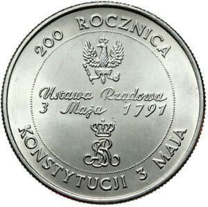 Gedenkmuenze-Polen-10000-Zlotych-1991-Grundgesetz-1791-Stempelglanz-UNC