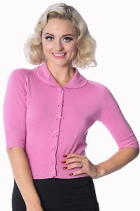 Pink-Retro-Rockabilly-Vintage-50s-Plain-Peter-Pan-Collar-Cardigan-Banned-Apparel