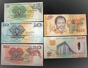 Details About Papua New Guinea Banknotes 2 10 20 50 100 Kina Unc Paper Money Currency