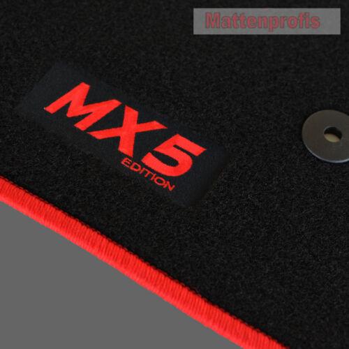 Mattenprofis Velours Fußmatten Logo rot für Mazda MX-5 MX5 ab Bj.11//2012