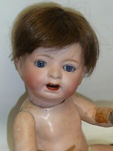 """Charitable 12"""" Antique Japanese Morimora Brothers Bisque Baby W/blue Sleep Eyes With The Most Up-To-Date Equipment And Techniques Dolls"""