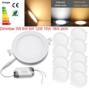 Rund Dimmbar 3W-24W Ultraslim LED Panel Deckenleuchte Einbaustrahler Deckenlampe