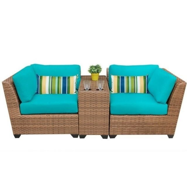 Tk Classics 3 Piece Laguna Outdoor Wicker Patio Furniture Set Aruba 03b For Sale Online Ebay