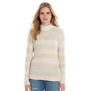 Lauren-Conrad-sweater-medium-Womens-striped-mockneck-new-pink-C10
