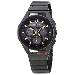 Bulova-Curv-Dark-Grey-Dial-Chronograph-Men-039-s-Watch-98A206