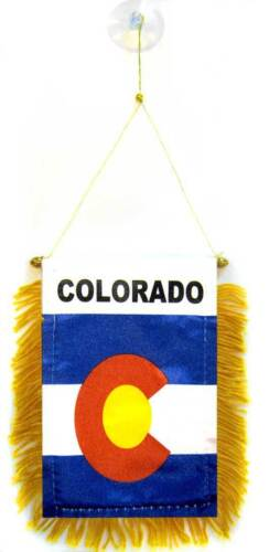 """Wholesale lot 3 State of Colorado Mini Flag 4/""""x6/"""" Window Banner w// suction cup"""