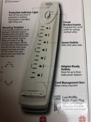 Power Sentry 7 Outlet 1100 Joules Surge Protector w// 3/' Right Angle Plug #100173