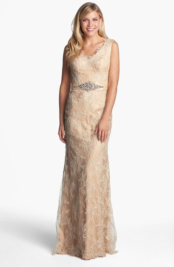La Femme Embellished Sleeveless Lace Gown (size 6)