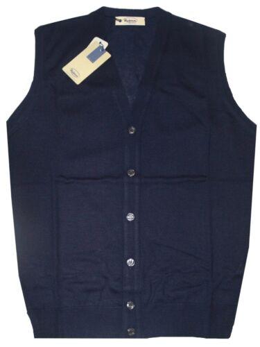 GILET UOMO lana merino 3XL 4XL 5XL 6XL maglia aperta blu TAGLIE FORTI OVER
