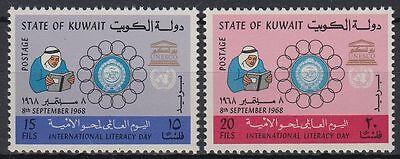 Briefmarken Herrlich Kuwait 1968 ** Mi.409/10 Bildung Education Analphabetismus Illiteracy Buch Book