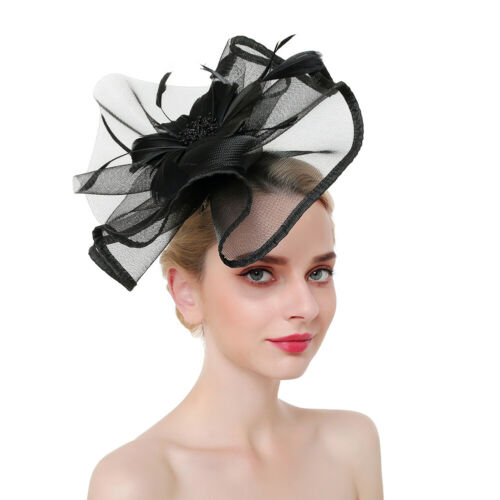Women Headband Fascinators Hair Band Large Feather Hats Party Wedding Accessory