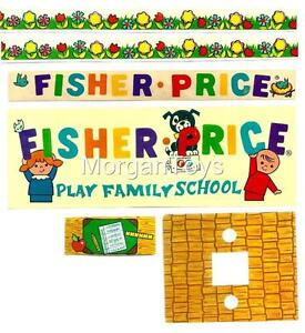 Vintage-FISHER-PRICE-SCHOOL-923-REPLACEMENT-LITHOS-Little-People-Play-Family