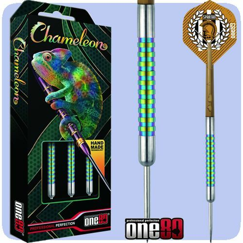 One80 22 Gram Chameleon Jade Tungsten Darts Set with Free Solibox Case