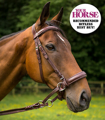 New  ** Cross Over ** Bitless Leather  Bridle with web grip reins Brown Full