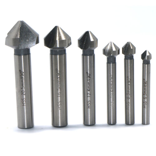6pc 3 flute 90° HSS Countersink Chamfer Cutter End Mill Drill Milling Tool Set