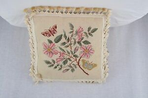 Butterfly-Needlepoint-Decorative-Accent-Fringed-Pillow-Floral-18-034-Square