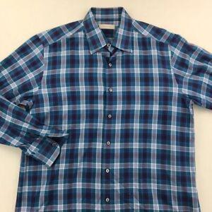 Ermenegildo-Zegna-Mens-Button-Front-Shirt-Blue-Plaid-Barrel-Cuff-100-Cotton-XL