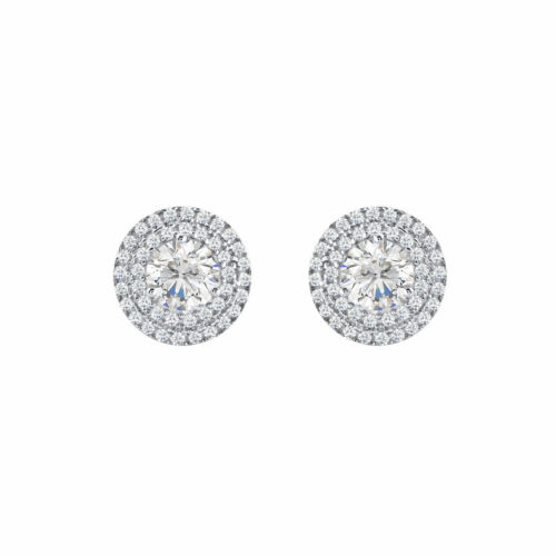 BRILLIANT DOUBLE HALO ROUND STUD EARRINGS 14K WHITE GOLD FN 925 STERLING SILVER