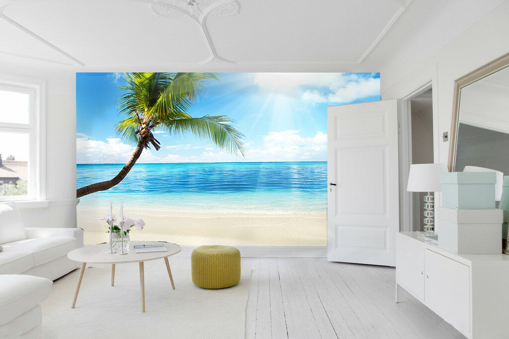 3D Trees Beach 467 Wallpaper Murals Wall Print Wallpaper Mural AJ WALL AU Lemon