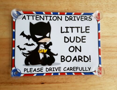 Baby Dressed As Batman little dude On Board Car Laminated Sign