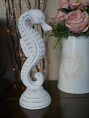 Shabby Chic Decorative Wooden Seahorse Ornament White Distressed Bathroom