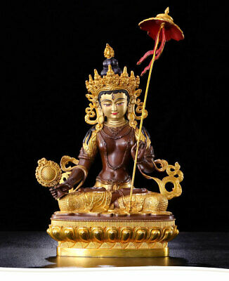 Chinese Old Temple bronze Tibetan Buddhism Three faces