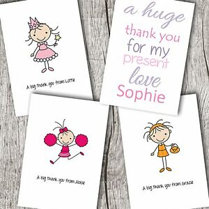 Personalised girlchildrens folded thank you cards princesswords image is loading personalised girl children 039 s folded thank you m4hsunfo