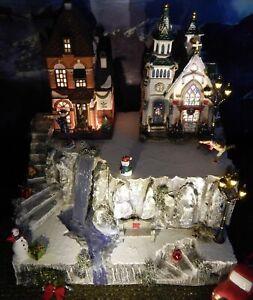 Christmas WATERFALL CLIFF Snow Village Display platform base, Dept 56 Lemax
