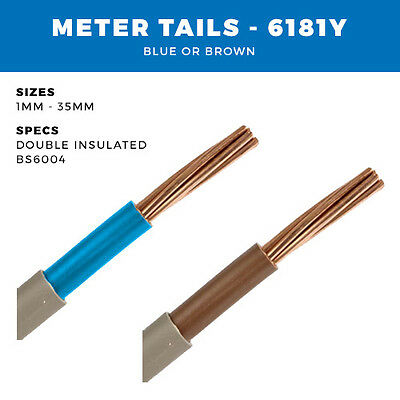 ALL METRE TAILS CABLES 1MM- 35MM 6181Y BLUE OR BROWN DOUBLE INSULATED PER METRE