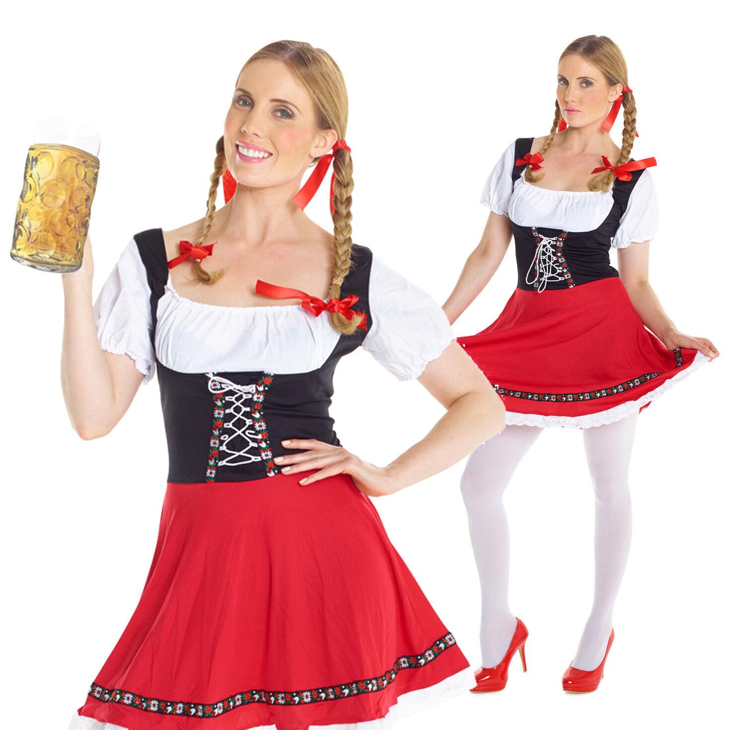 Bavarian Beer Wench Maid Ladies Adult Oktoberfest Fany Dress Costume Wig Plaits