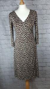 LK-Bennett-100-Silk-Leopard-Print-Wrap-Dress-Black-Brown-Midi-LengthVGC-Size-12
