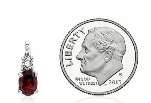 Details about  /14K White Gold Garnet /& Diamond Pendant /& Chain Red Oval Mozambique Necklace