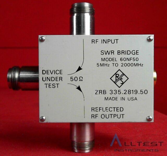Wiltron R&S 60NF50 SWR Bridge, 5 - 2000 MHz, 46 dB